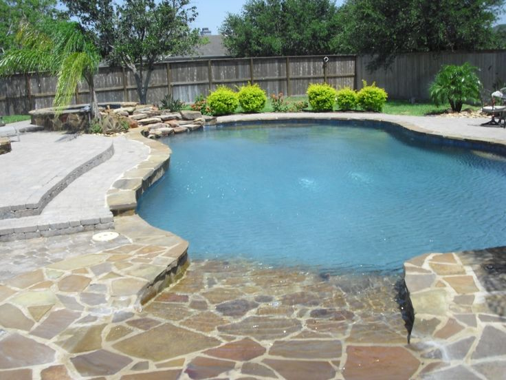 Beach entry pools beach entries pools and spas pinterest for Pool design with beach entry