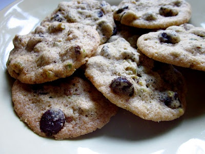 Dark Chocolate Chip, Pistachio, and Smoked Salt Cookies by Bekka Bakes