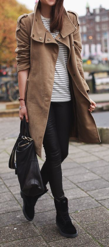 Beige Trench + Vegan Leather Skinnies