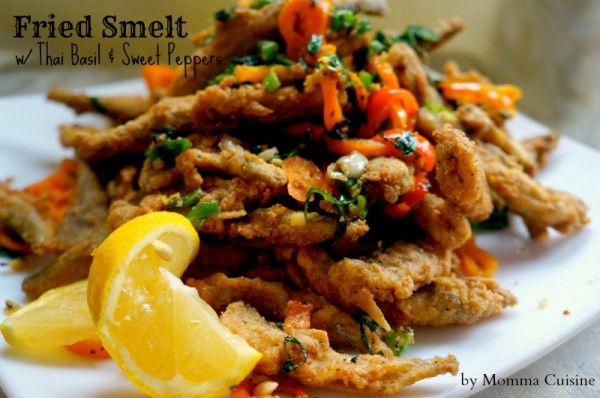 Fried Smelt with Thai Basil and Sweet Peppers