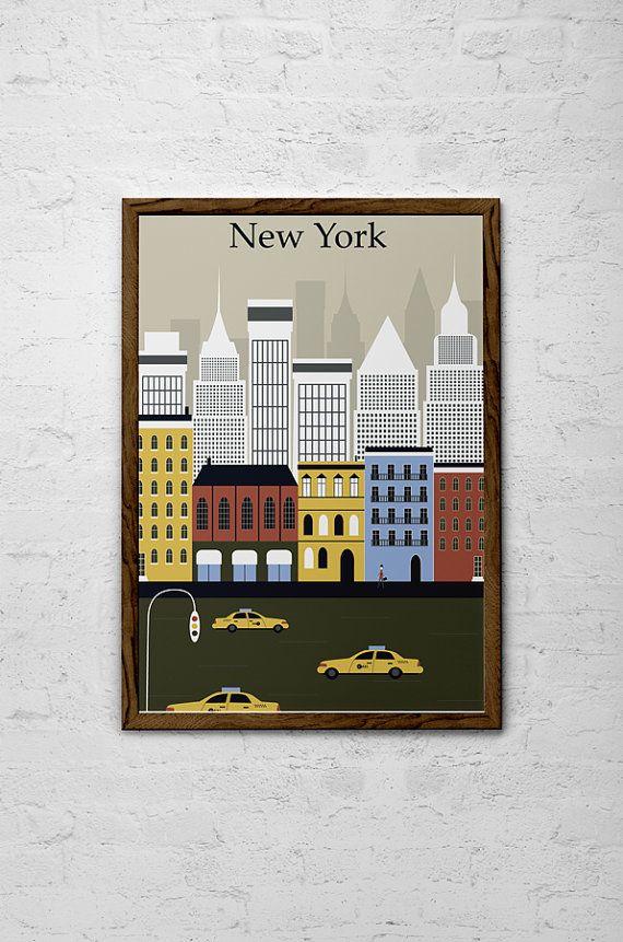 new york city wall art deco print poster. Black Bedroom Furniture Sets. Home Design Ideas