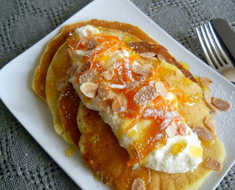 Orange Ricotta Pancakes -- Fluffy pancakes with whipped ricotta and ...