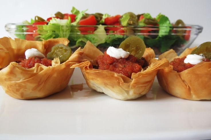 Taco Salad and taco cups, super easy! You get two dishes for the price ...