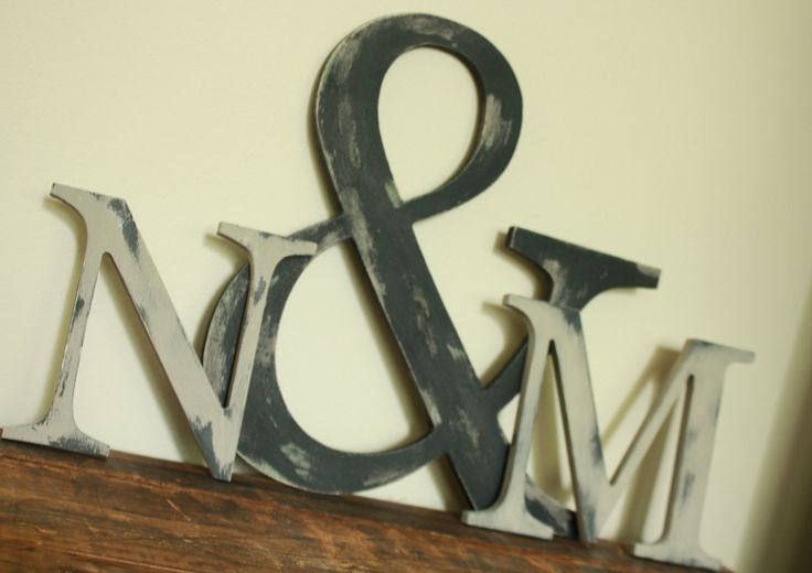 Ampersand and wooden letter trio set distressed painted for Ampersand decoration etsy