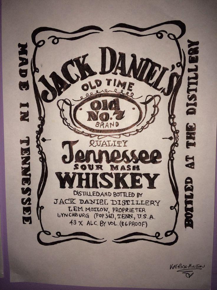Jack Daniels Whiskey Label Biro DrawingJack Daniels Honey Whiskey Label