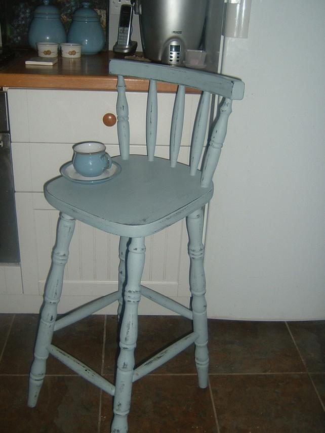 Blue Distressed Kitchen Chair