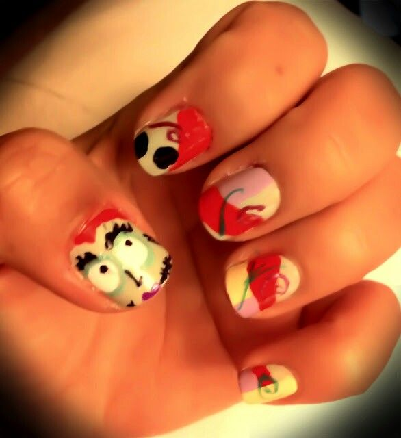 Sally from the night before Christmas Nail Design