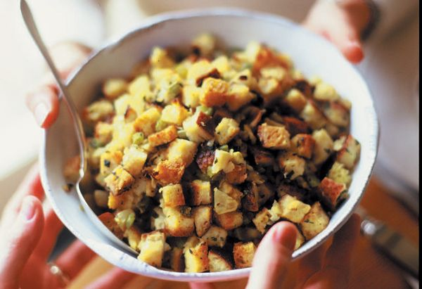... stuffing is made with crisp apples, hearty sausage, and golden raisins