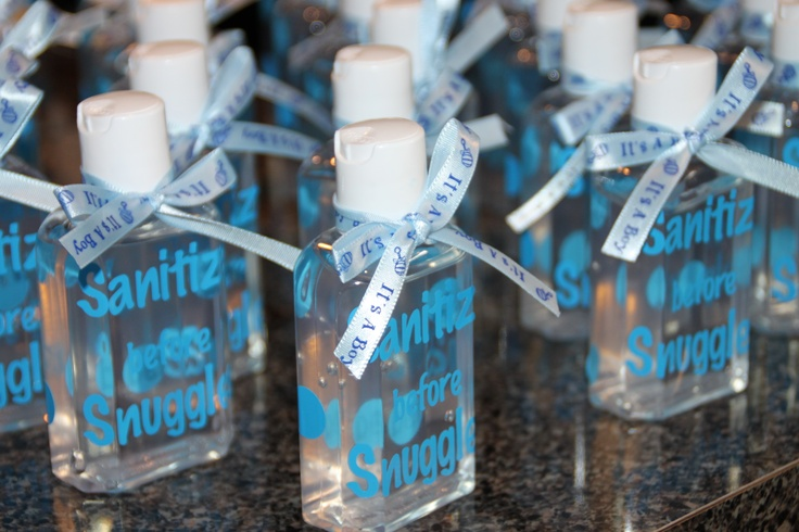 sanitize before snuggles hand sanitizer baby shower favors