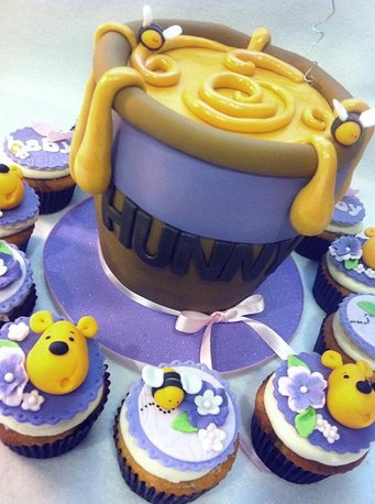 Hot Mamas Cakes | Baby Shower Winnie the Pooh baby shower cake - Honey Pot cake