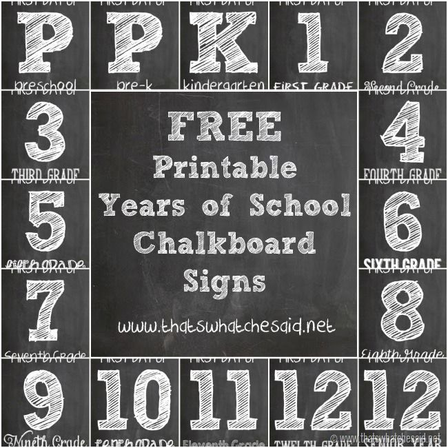 FREE Chalkboard First Day of School Signs - Monthly Blog Hop