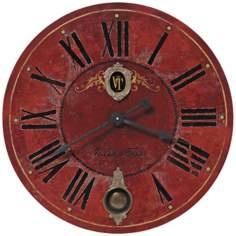 """Villa Tesio Red 30"""" Wide Round Wall Clock"""