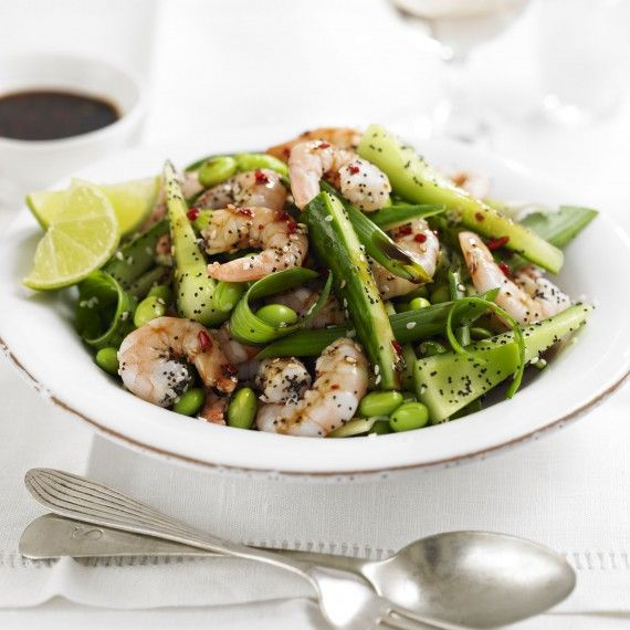 Prawn, Poppy and Sesame Seed Salad with a Sweet and Spicy Soy Ginger Dressing Recipe