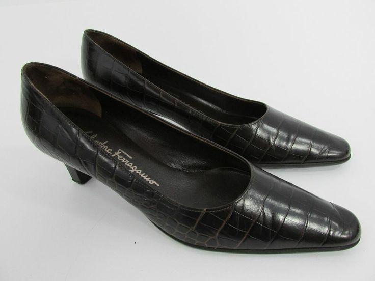 Salvatore Ferragamo Womens Shoes Brown Leather Croc Kitten Heels Size