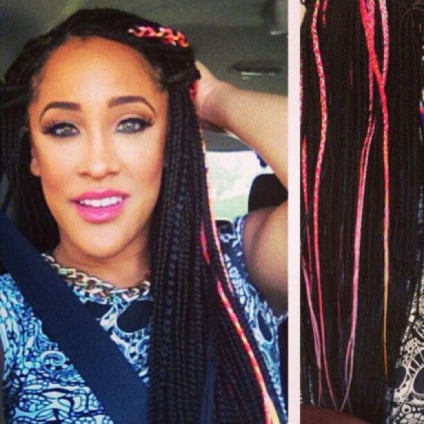 Poetic justice braids with pink photo