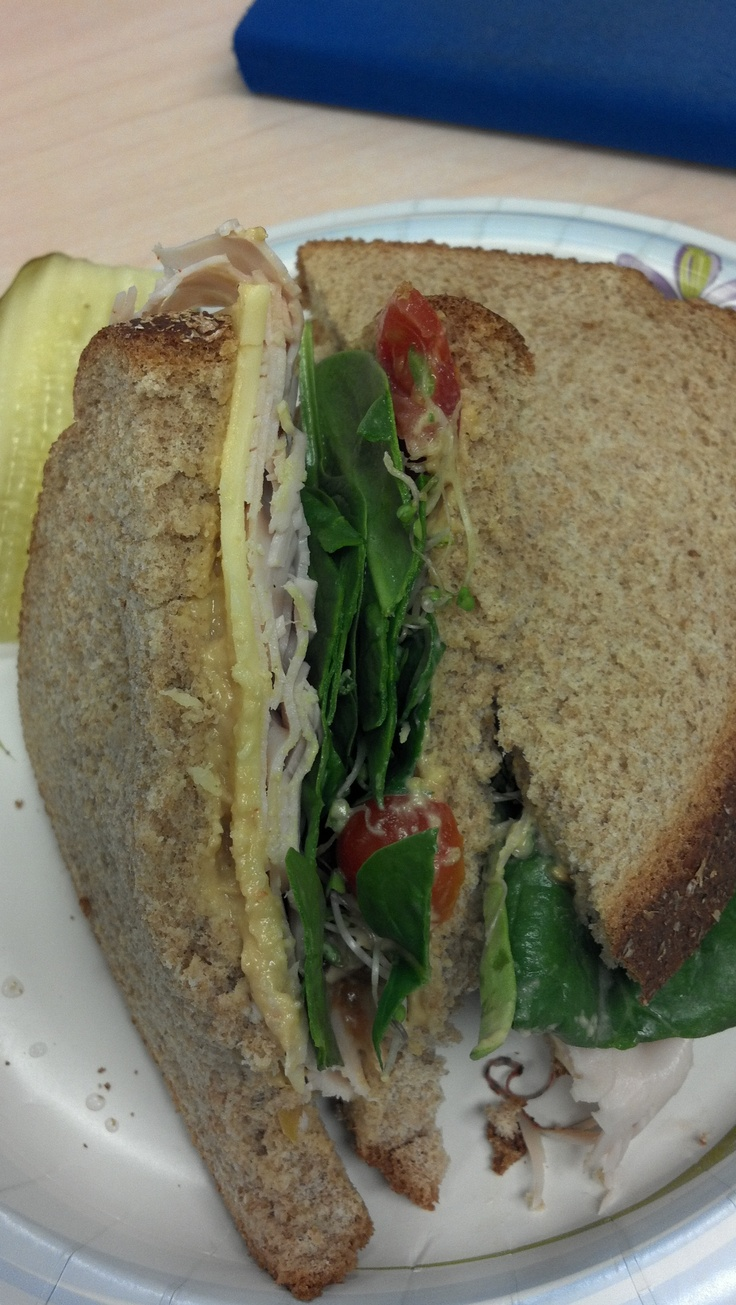 Turkey, gouda, roasted red pepper hummus, spinach and sprouts on honey ...