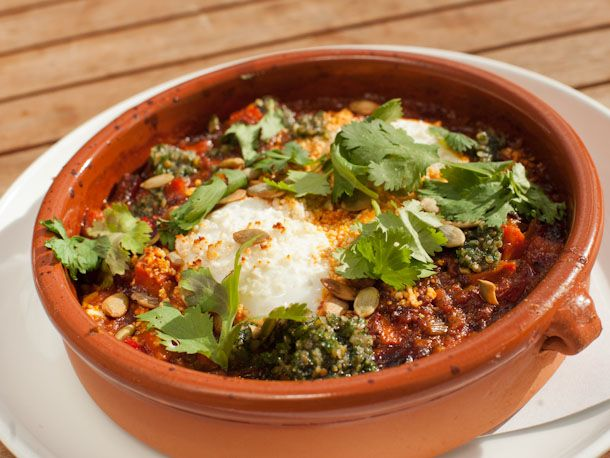 Baked Eggs, Chorizo, Sweet Potato Hash, Cilantro This hearty egg dish ...