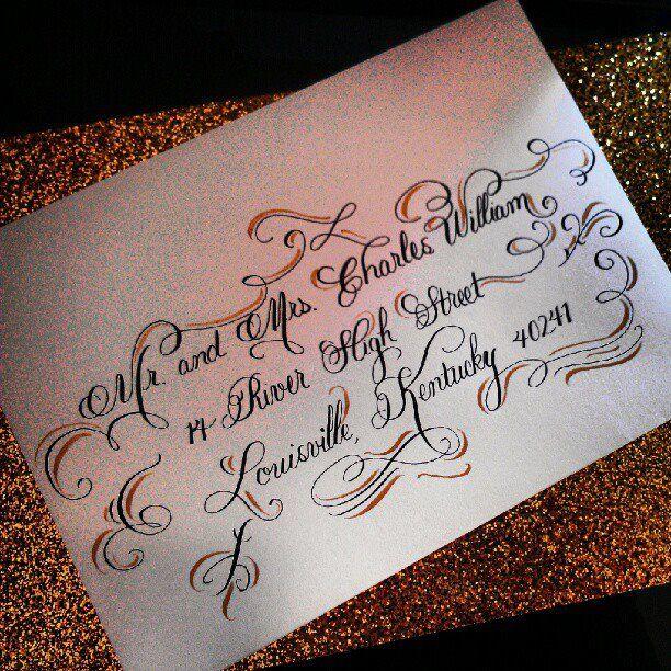 Dramatic Wedding Calligraphy Envelope Always Forever