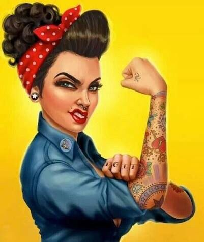 semi mohawk hairstyle : rosie the riveter