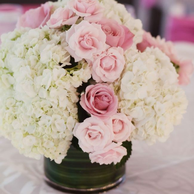 Hydrangea and rose centerpiece decorate pinterest