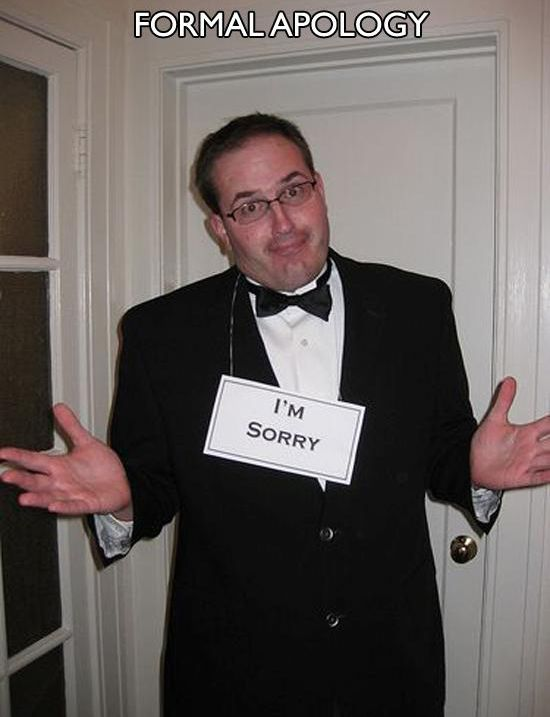 "16 Last-Minute Halloween Costumes for Lazy People - ""Formal Apology"""