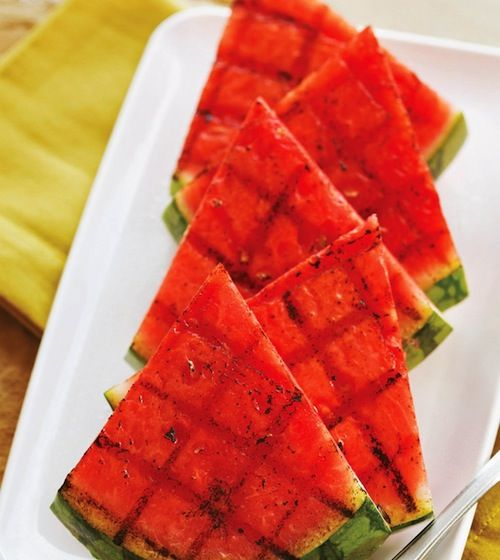 Honey grilled spicy watermelon (with garlic chili sauce, lime zest and ...