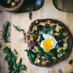 Rapini (broccoli rabe) & rosemary potato pizza on a buttermilk crust.