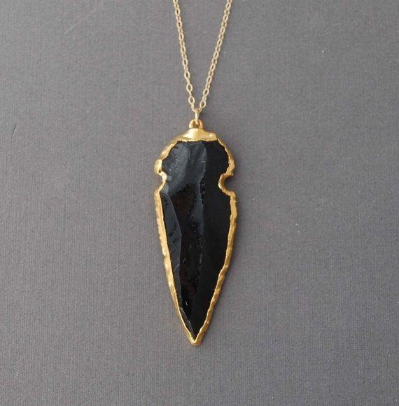 black obsidian gold arrowhead necklace jewels gems