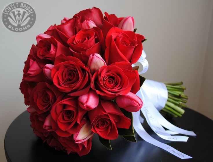 Red Roses And Red Tulips Bouquet