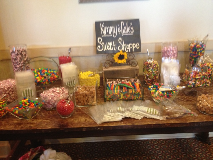 Candy bar at reception!! Huge hit!