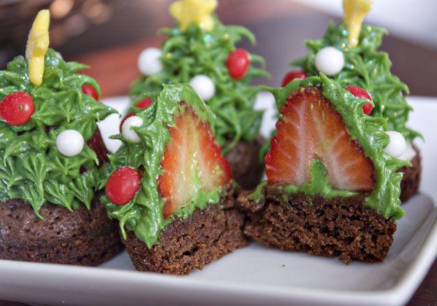 Strawberry brownie bite Christmas trees
