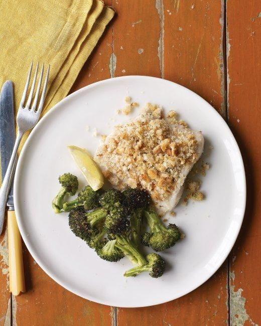 Baked Fish with Herbed Breadcrumbs and Broccoli Recipe