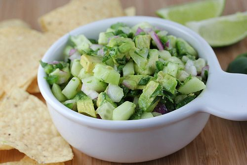 avocado cucumber salsa: 1 medium english cucumber (seeded and diced) 2 ...