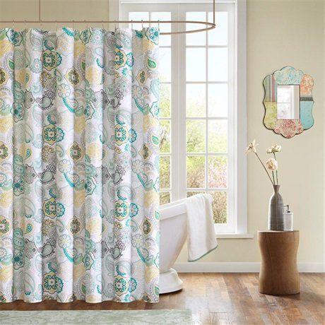 mizone tamil shower curtain   blue   72x72 mi zone     amazon