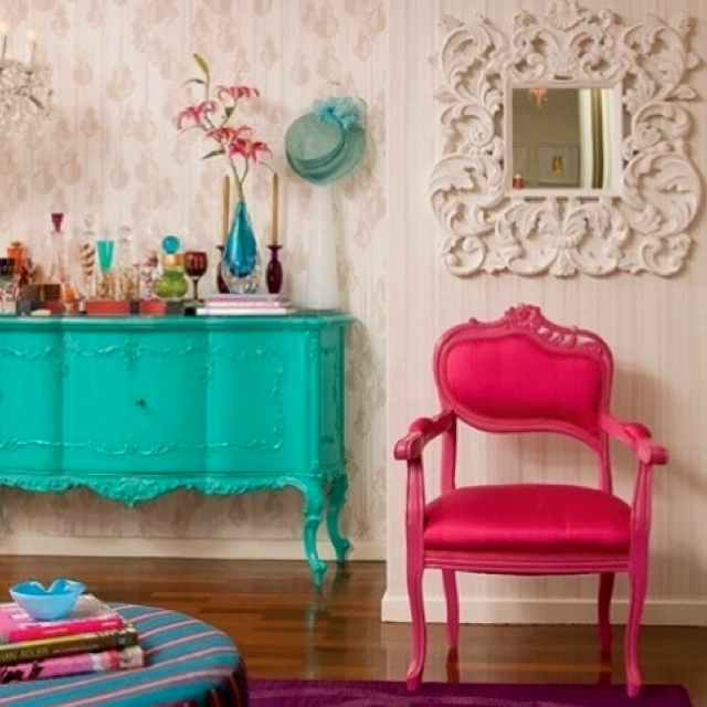 Hot Pink and Turquoise Rooms