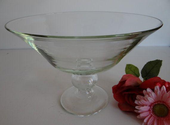 Gorgeous large centerpiece pedestal glass bowl by