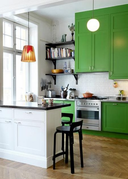 emerald green kitchen cabinets  Home  Pinterest