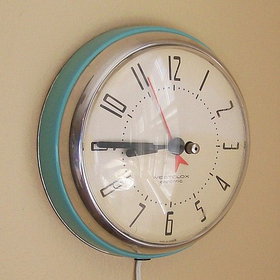 Vintage Kitchen Clock Plug In Clock Turquoise Blue