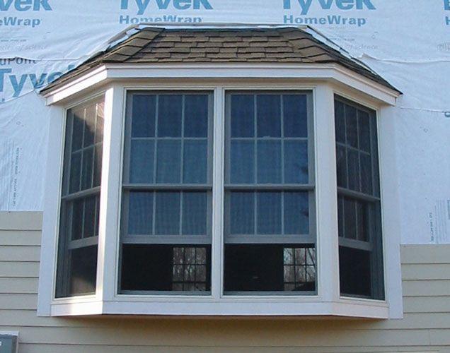 Bay window exterior home landscape pinterest for Outside window design