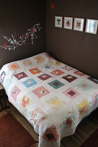 bird quilt. I also sort of like the wall color even though it's a little angry.