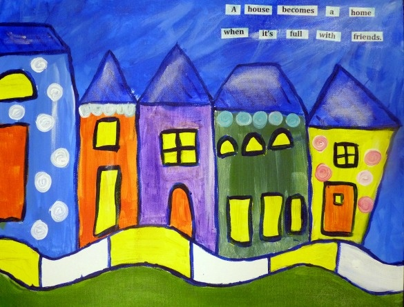 Funky Houses   Whimsical Painting   Pinterest