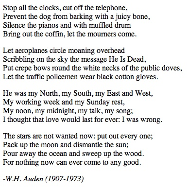 auden essays Free essay: the mood in funeral blues by wh auden the poem, funeral blues, by wh auden tells about a person's grief and is successful in.