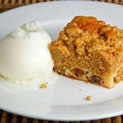 Gooseberry Crumb Cake with a scoop of melting Vanilla Ice Cream