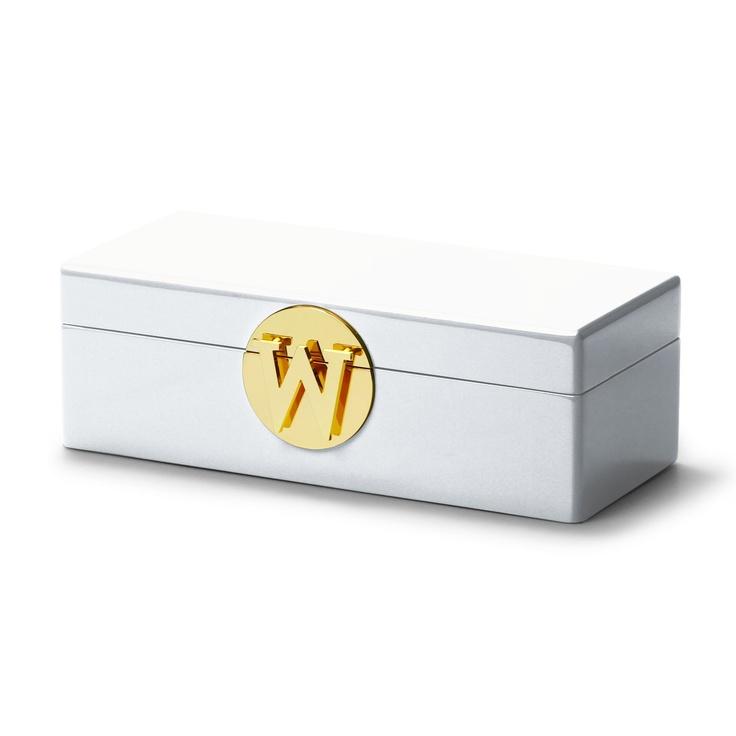 C Wonder Modern Home Decor White Monogram Jewelry Box