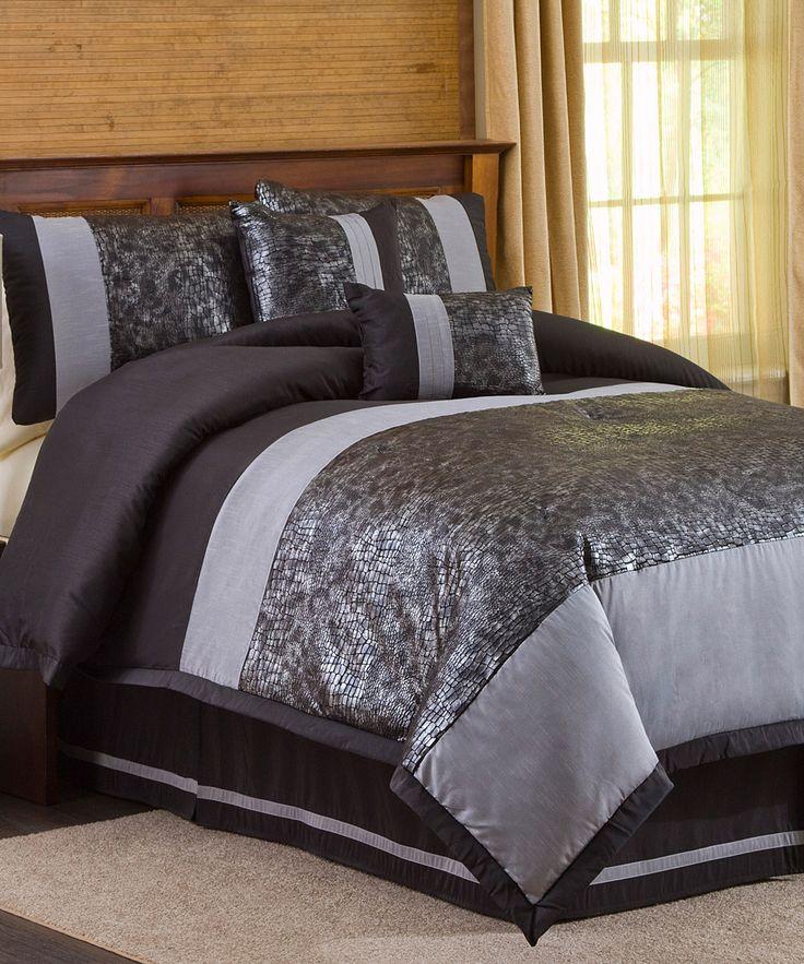Black amp silver metallic animal comforter set