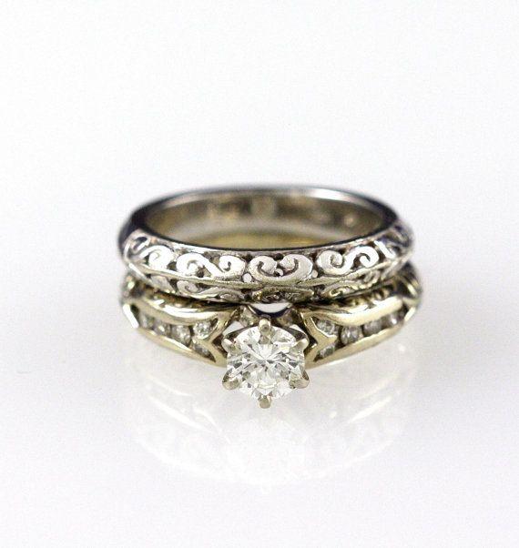 Edwardian Esque Filigree 14k Gold Engagement Ring Wedding Band Set