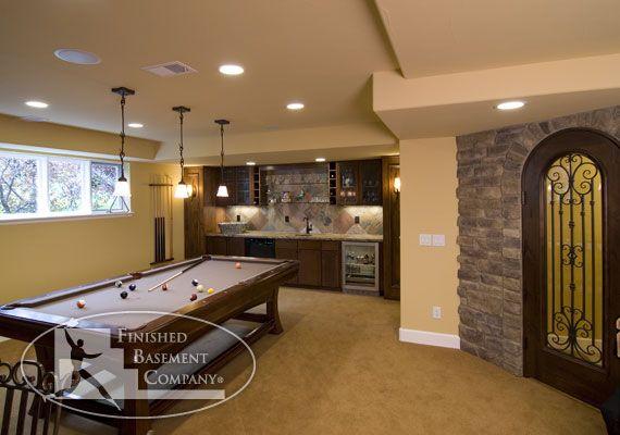 Basement game room bar home basement attic pinterest for Home bar game room