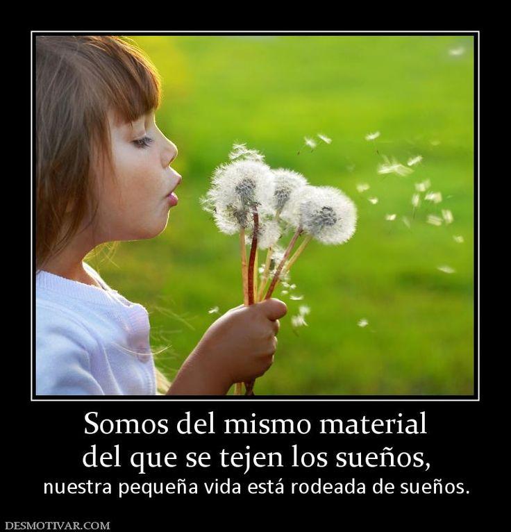 Somos del mismo material del que se tejen los sueños, nuestra pequeña vida está rodeada de sueños.