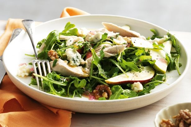 Pear And Blue Cheese Salad With Poached Chicken Recipe  Recipe Ideas ...