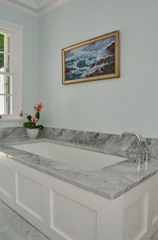 Bathroom Tub Deck Ideas : Marble deck undermount tub bungalow design inc